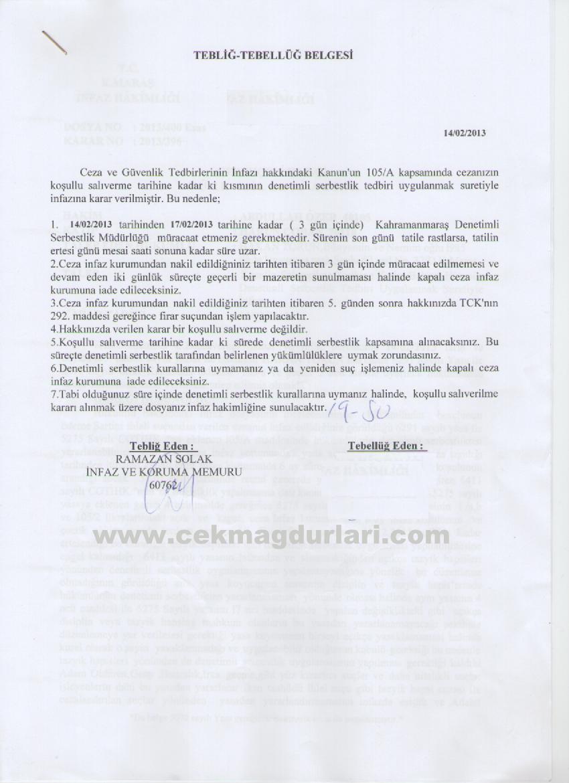 Hakim Abdullah Özer Tazyik hapsi Denetimli serbestlik Mahkeme kararı, Taahhüdü ihlal