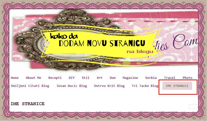 Kako dodati stranicu na blog u Bloggeru