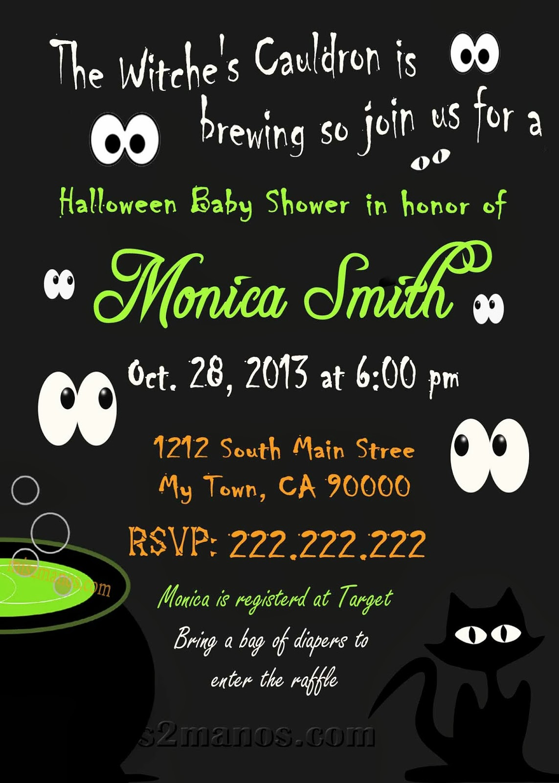 Mis 2 manos made by my hands halloween baby shower invitation httpsetsylisting162331619halloween baby shower invitation refshophomeactive filmwisefo