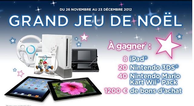 """8 iPad 2 +  20 consoles 3DS + 40 packs Wii """"Mario Kart"""" + 12 lots de 10 bons d'achat La Halle"""