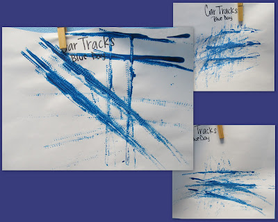 photo of: painting with car wheels, preschool painting with cars