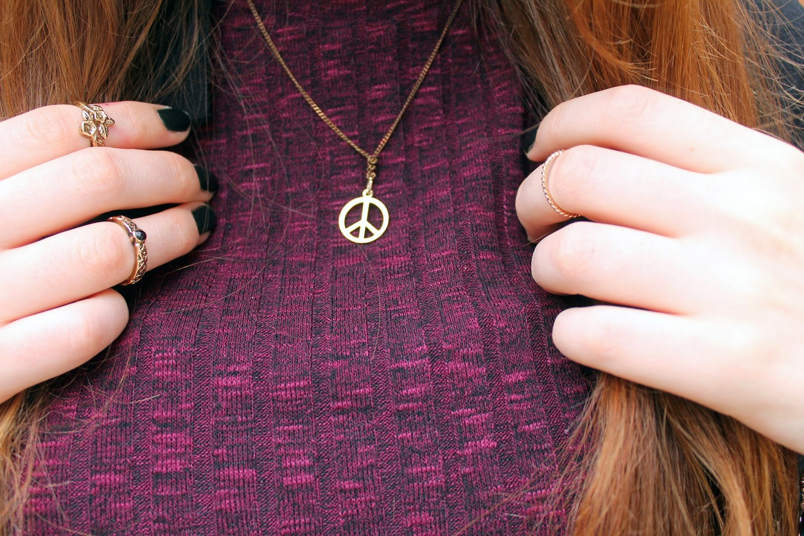 small gold peace sign necklace with primark rings september 2014 and gold midi rings