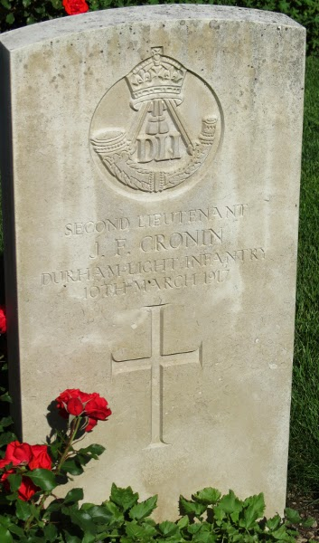 Headstone of Second Lieutenant JF Cronin, Vevey St Martins cemetery, taken August 2013