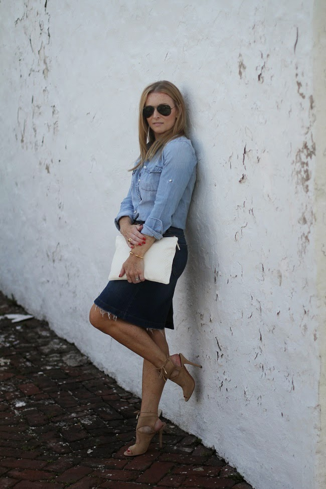 old navy denim skirt, aquazurra heels