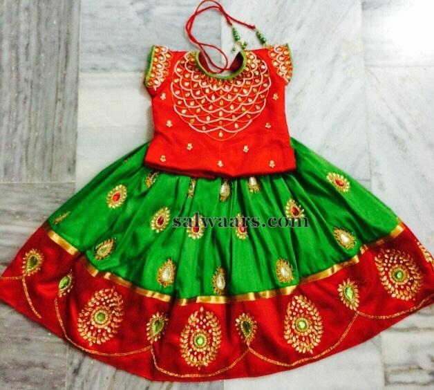 Huge Work Green Mango Lehenga