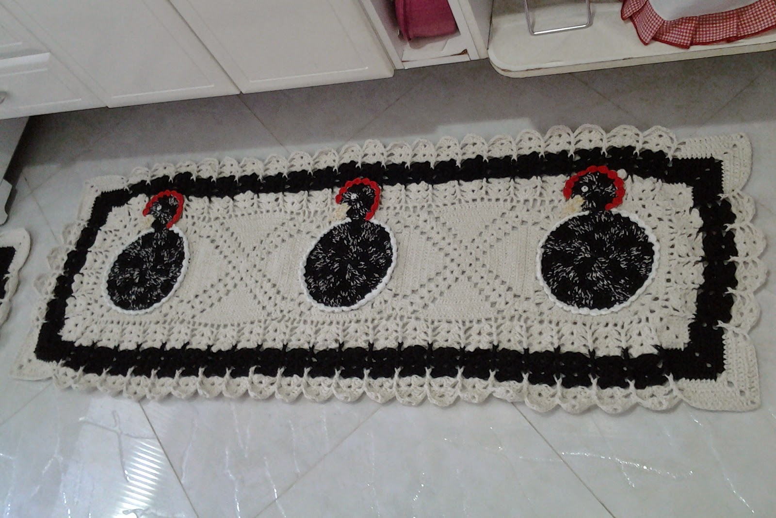 Tapetesa Jogo de tapetes de croche para cozinha galinha dangola