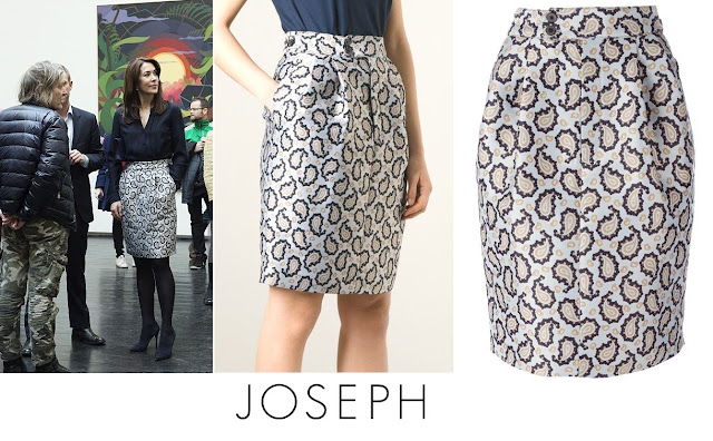 Crown Princess Mary wore a JOSEPH Dean Skirt. Mary visited the art exhibition