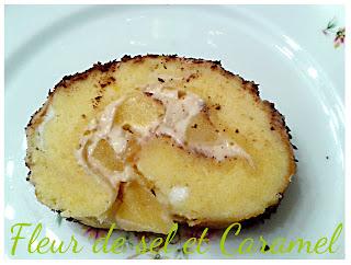 Bûche au mascarpone, caramel au beurre salé et pommes caramélisées....