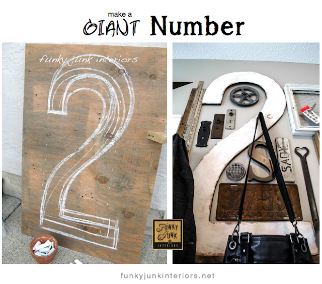 How to make a giant number or letter out of plywood... for FREE! via http://www.funkyjunkinteriors.net/