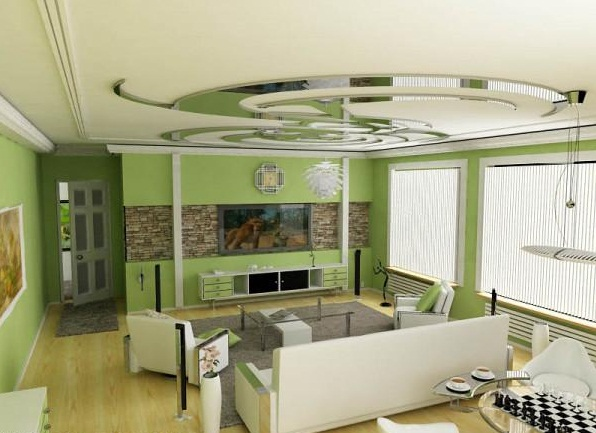Green living room interior design home office decoration for Modern living room green