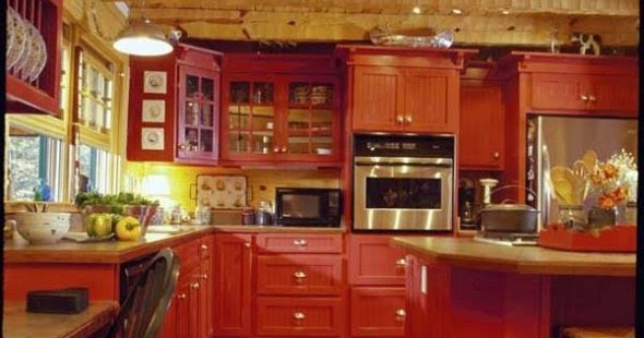 15 red kitchen ideas home designs plans for Red country kitchen ideas