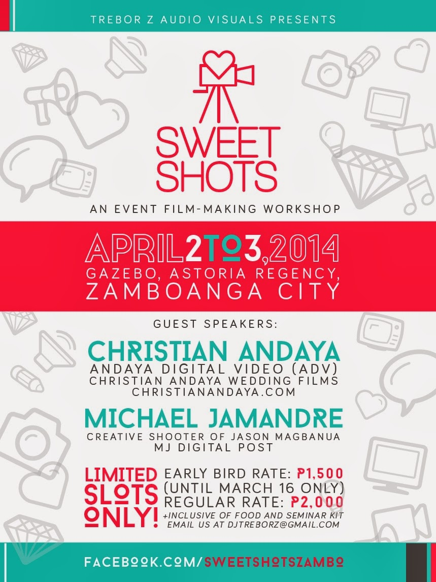 sweet shots event film making workshop zamboanga city poster trebor z michael jamandre christian andaya