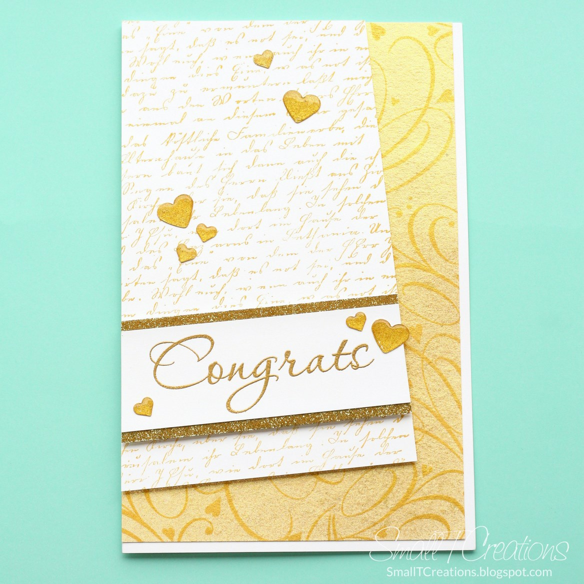 Gold Wedding Card with DIY Glitter Enamel Hearts | Small T Creations