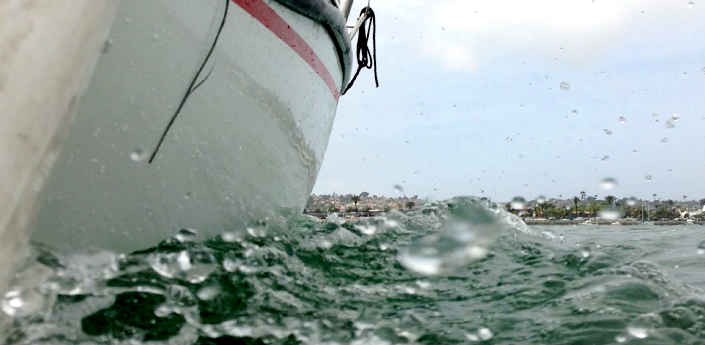 Water Splash from yacht sailing in San Diego Bay
