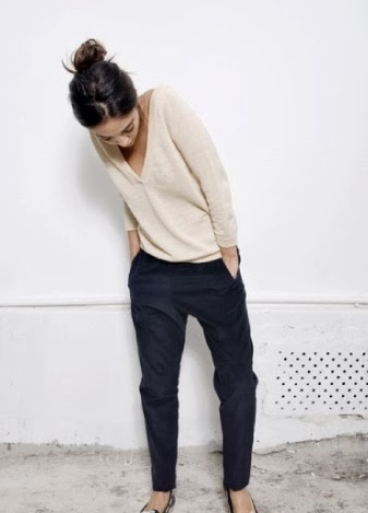 street style navy trousers girl style fashion trend