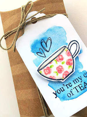 Day #2 - Coffer Lovers Blog Hop - You're My Cup of Tea by Jane Beljo - #coffeeloversblog #tea #tag #giffbox #pillowbox #tag #kraft #clearstamps #DIY