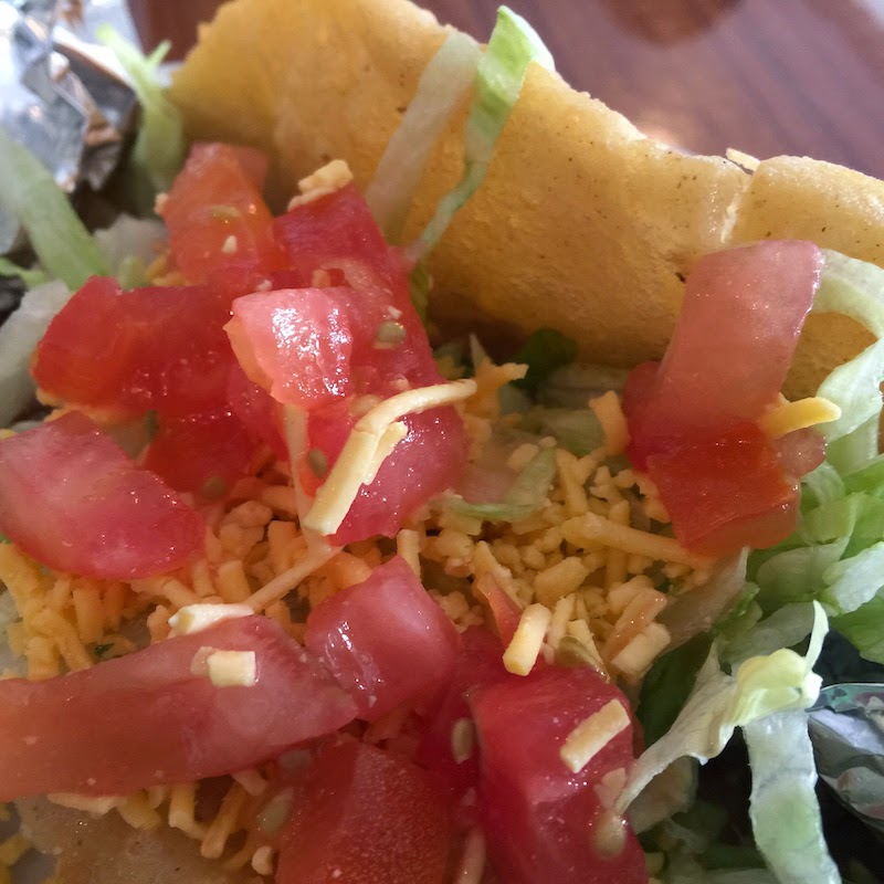 Puffy taco at Taco Taco Cafe in San Antonio as seen on Diners, Drive-Ins and Dives