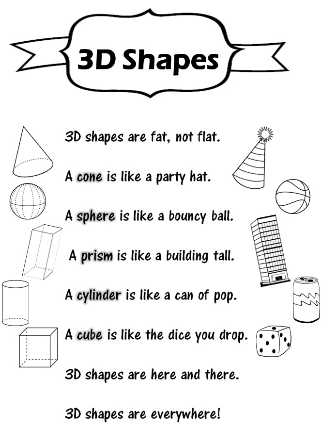 math worksheet : enjoy teaching english 3d shapes  poem  worksheet  : 3d Shapes Worksheet Kindergarten