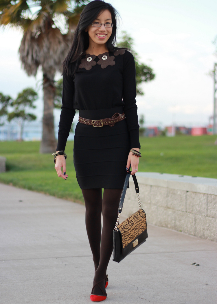 fall layering with bandage skirt and tights