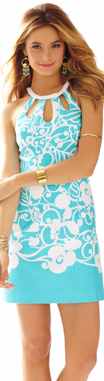 LILLY PULITZER PEARL CUT-OUT HALTER SHIFT DRESS