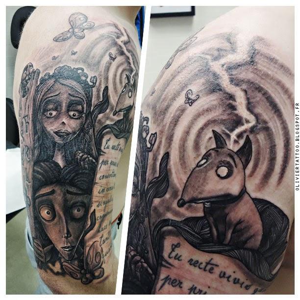 olivier-poinsignon-tatouage-realistes-tim-burton-frankenweenie-tattoo