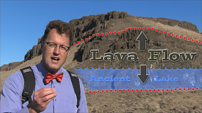 Geologist Nick Zentner describes pillow lavas.