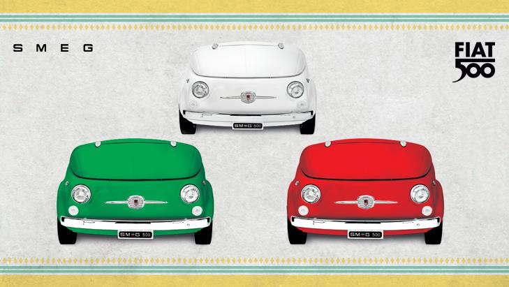 SMEG Fiat 500 Design Fridge in white red and green