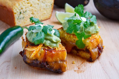 Jalapeno Cornbread Grilled Cheese with Refried Black Beans and Guacamole