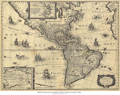 Mapa de América por el cartógrafo Jodocus Hondius, realizado c.1640 m. 5965 X 4528 px, p. 9.6 MB