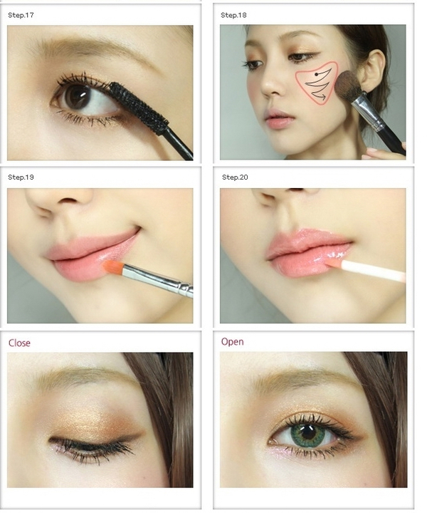 Flushed date makeup diy pics tutorial how to kawaii zibees apply light pink blush across the apples of your cheek in a zigzag motion downward then apply pink lipgloss lipstick or lip tint ccuart Choice Image