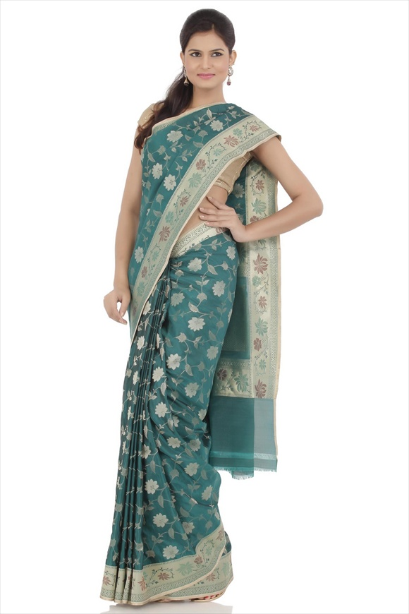 Emerald Green Kattan Silk Banarasi Saree
