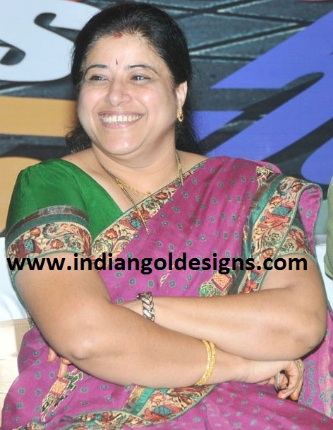 Telugu Actress Sudha In Gold Bangles And Black Beads