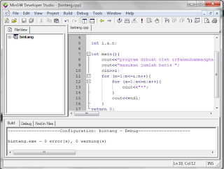 Membuat Segitiga Bintang Dengan C++