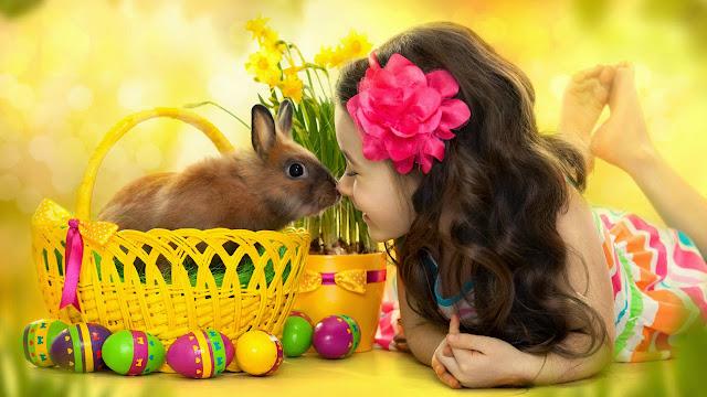 Cute girl and little gray rabbit HD Wallpaperz aklqosh