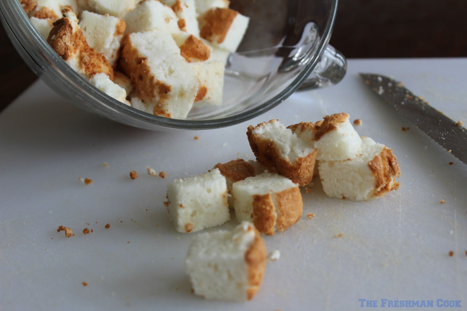 Cubed Angel Food Cake Cubes of Angel Food Cake For