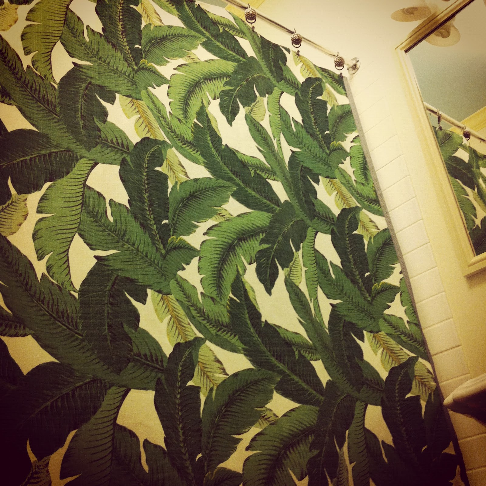 Katie Gavigan Interiors: palm leaf shower curtain