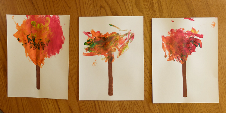 Finger Painted Autumn Leaves