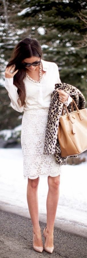 White Lace Skirt Top White & Gold Chain Necklace & Bag.