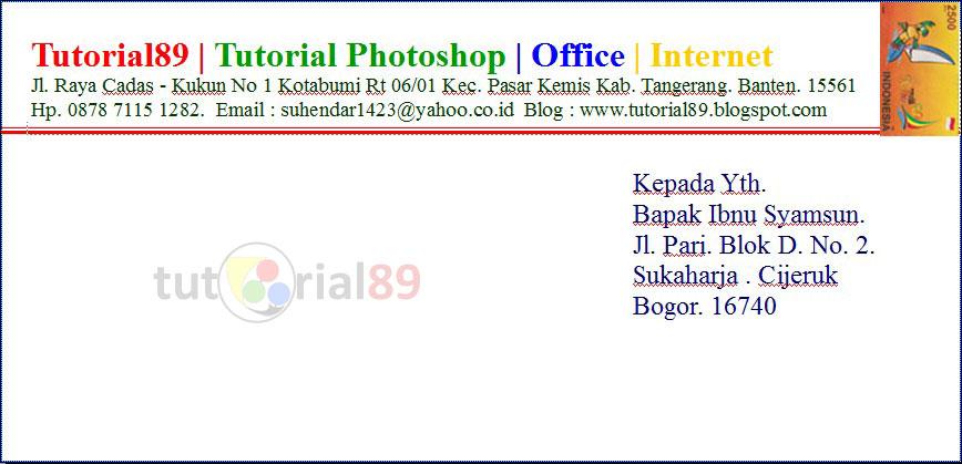 Cara print kop surat dan alamat surat di amplop