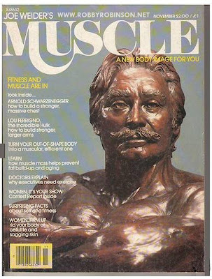 JOE WEIDERS BUST, THE FAMOUS BODYBUILDING SIMBOL ON THE  FRONT COVER OF MUSCLE BUILDER, NOVEMBER 1979 E-mail Robby for CUSTOM training, nutrition and supplementation plans,  single training sessions and consultations - ▶ info@robbyrobinson.net