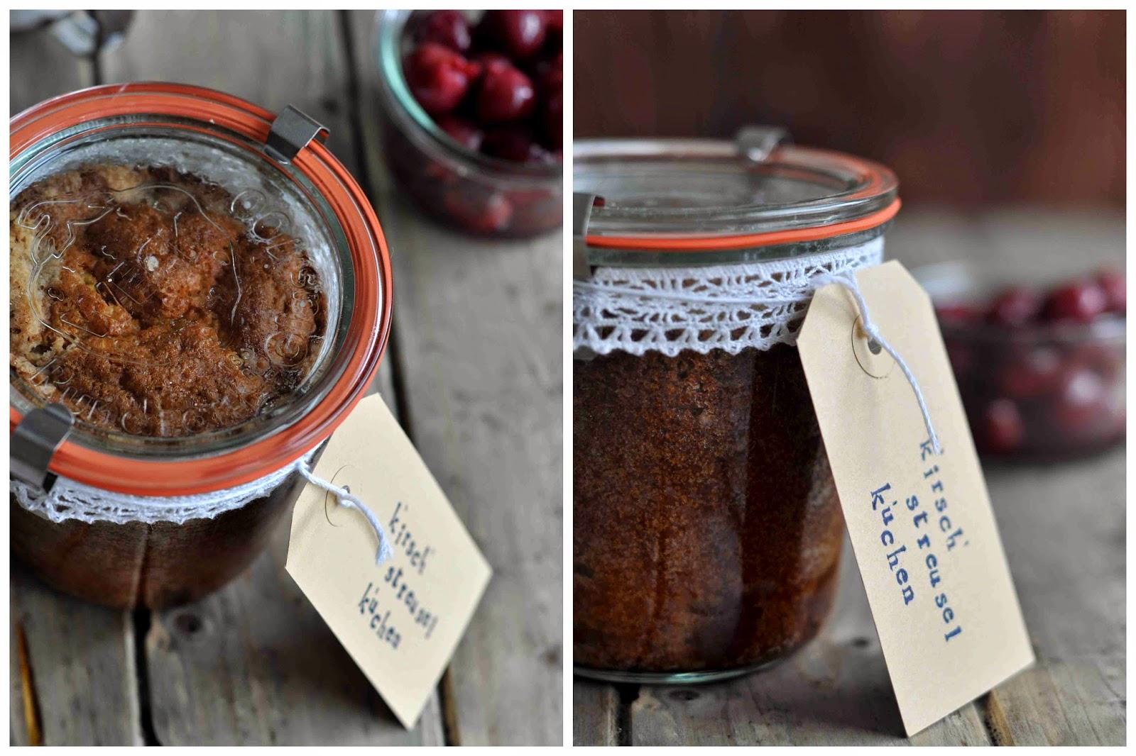 Kirsch Streuselkuchen im Glas / Cherry Streusel Cake in a