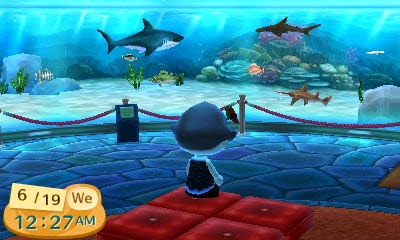 Animal Crossing: New Leaf - watching ocean aquarium museum