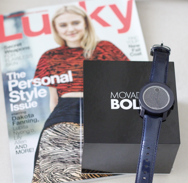close-up of Movado BOLD watch and September 2014 issue of Lucky Magazine