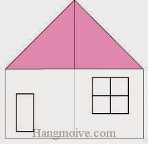 Bước 3: Vẽ cửa đi, cửa sổ để hoàn thành cách xếp ngôi nhà cấp bốn bằng giấy origami đơn giản.