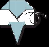 cara membuat origami wajah gajah
