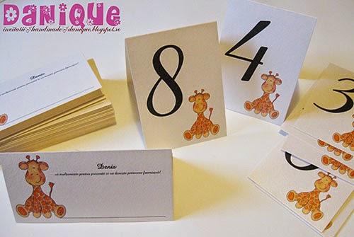 placecarduri si numere de masa cu tematica girafa