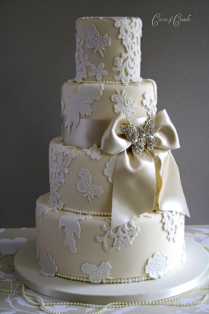 Have a vintage theme choose Lace Wedding Cake Designs ...