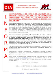 CONVOCATORIA 1º DE MAYO Y DE ASAMBLEA DE LA SECCIÓN SINDICAL DE CTA EN LA DELEGACIÓN TERRITORIAL EN