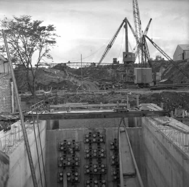 Tension cables. Forth Road Bridge construction.