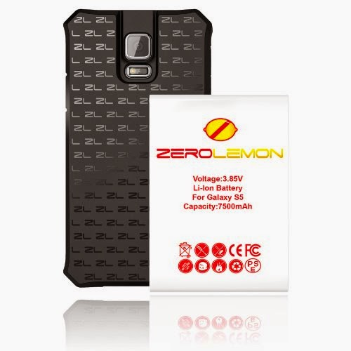 [180 Days Warranty] Zerolemon Samsung Galaxy S5 7500 mah Extended Battery + Free Black Extended TPU Full Edge Protection Case - World's Highest S5 Battery Capacity - Black
